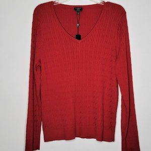 Talbots 100% Pima Cotton RED Cable Knit V Neck Sweater NEW